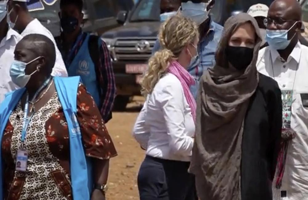 Angelie Jolie speaks at the Malian refugee camp in Goudebo, Burkina Faso, Sunday June 20, 2021, Associated Press