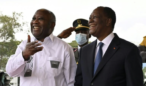 Ivory Coast President Ouattara greets longtime opponent Gbagbo