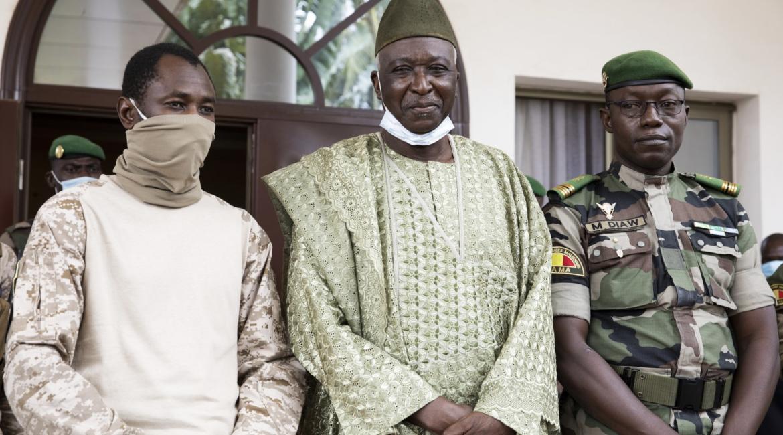 Mali junta leader Col. Assimi Goita, with Bah Ndaw and Col. Malick Diaw