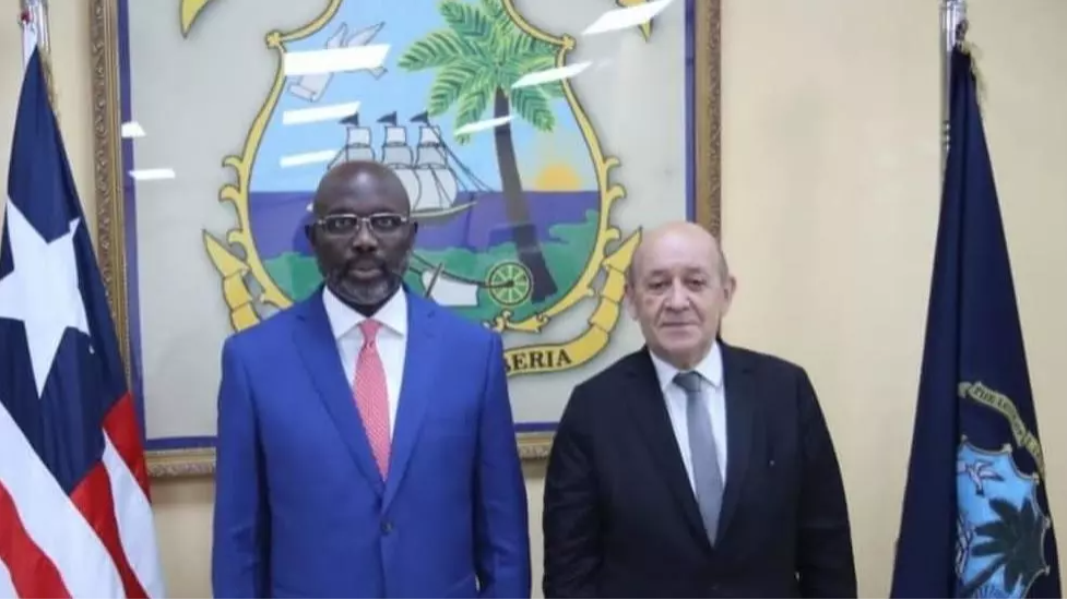 Liberia President George Weah and French Foreign Minister Jean-Yves Le Drian met in Monrovia, Liberia